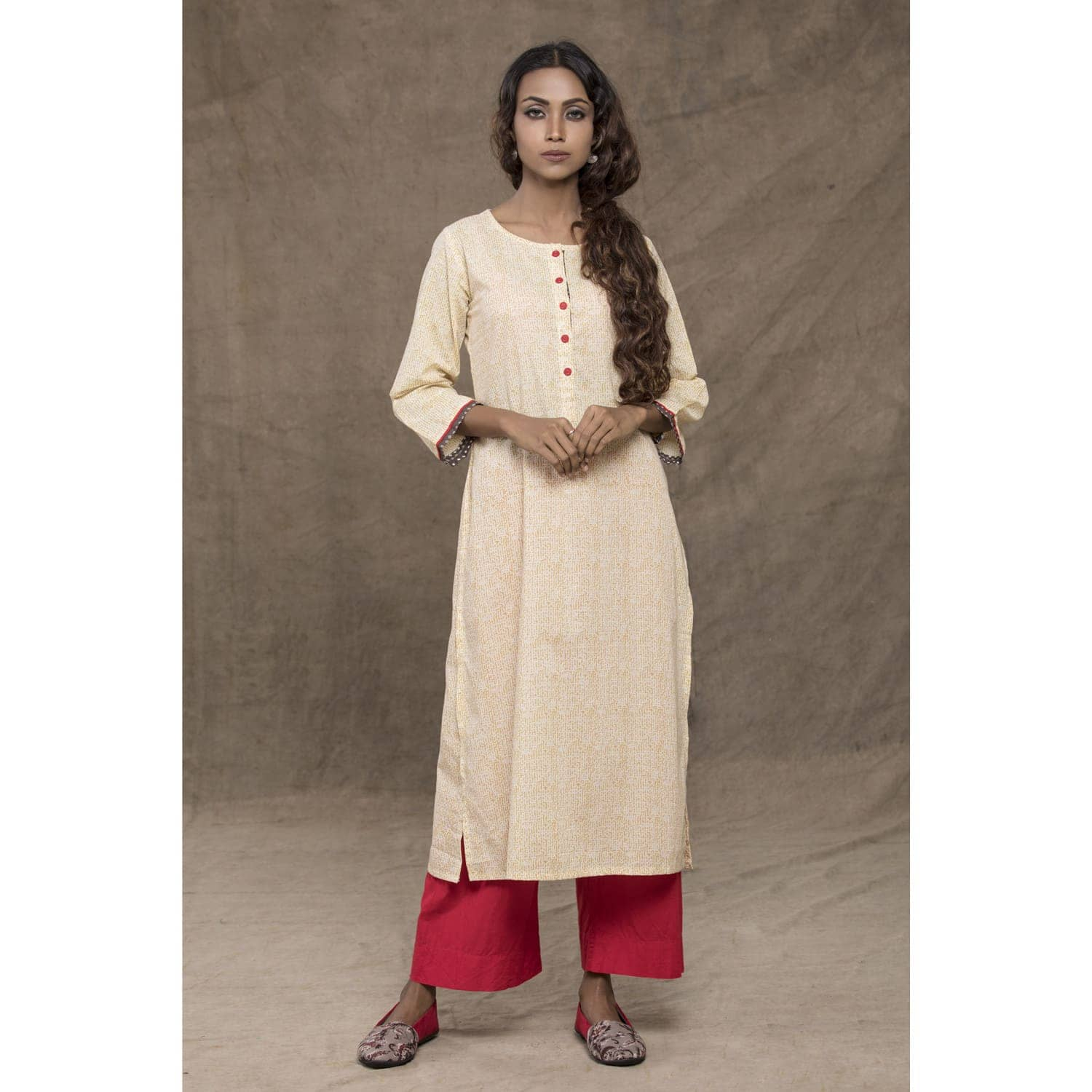 Cream drops block-print kurta