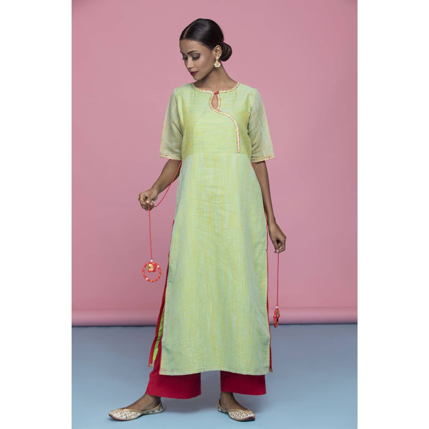 Green stripe cotton kurta