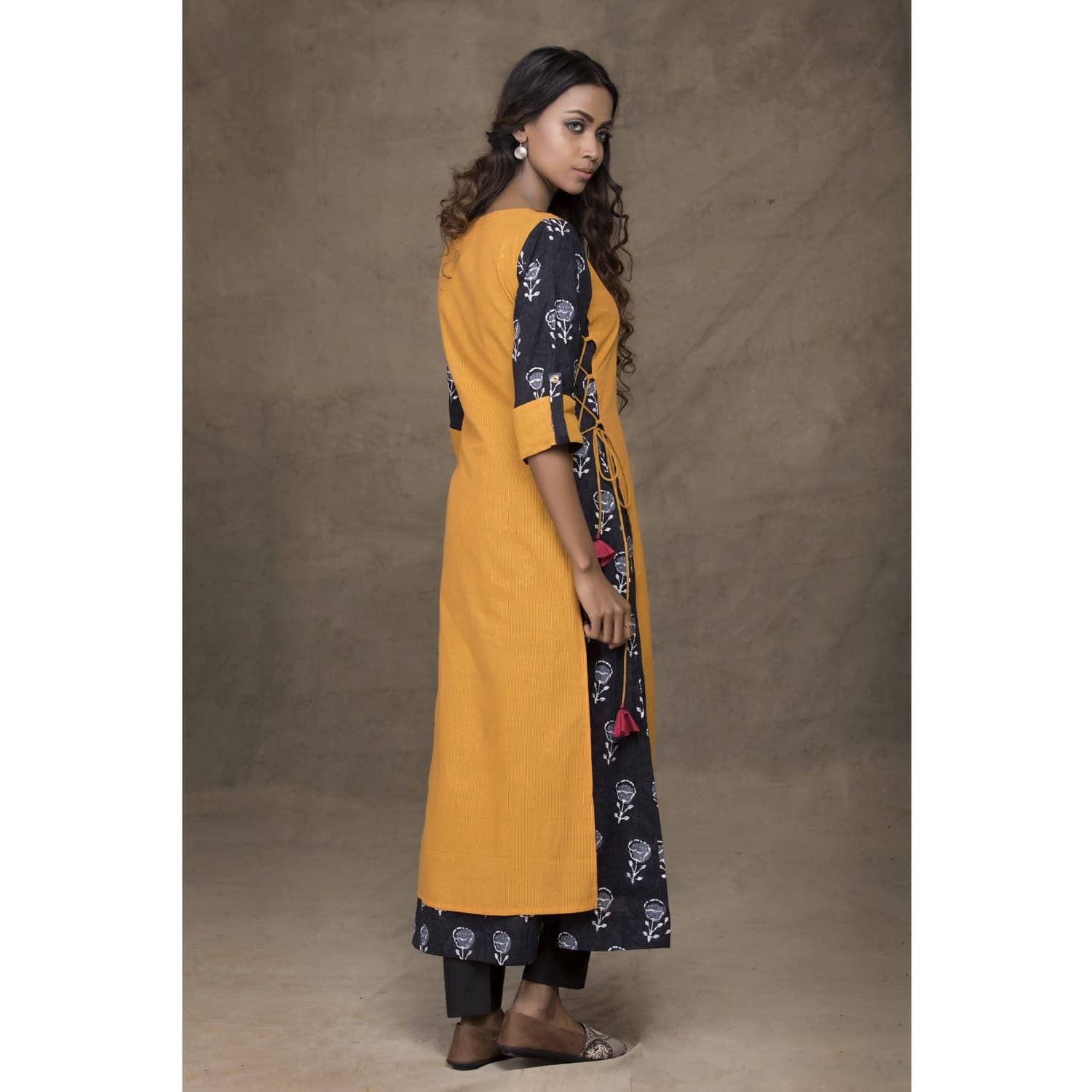 Mustard a-line kurta with strings