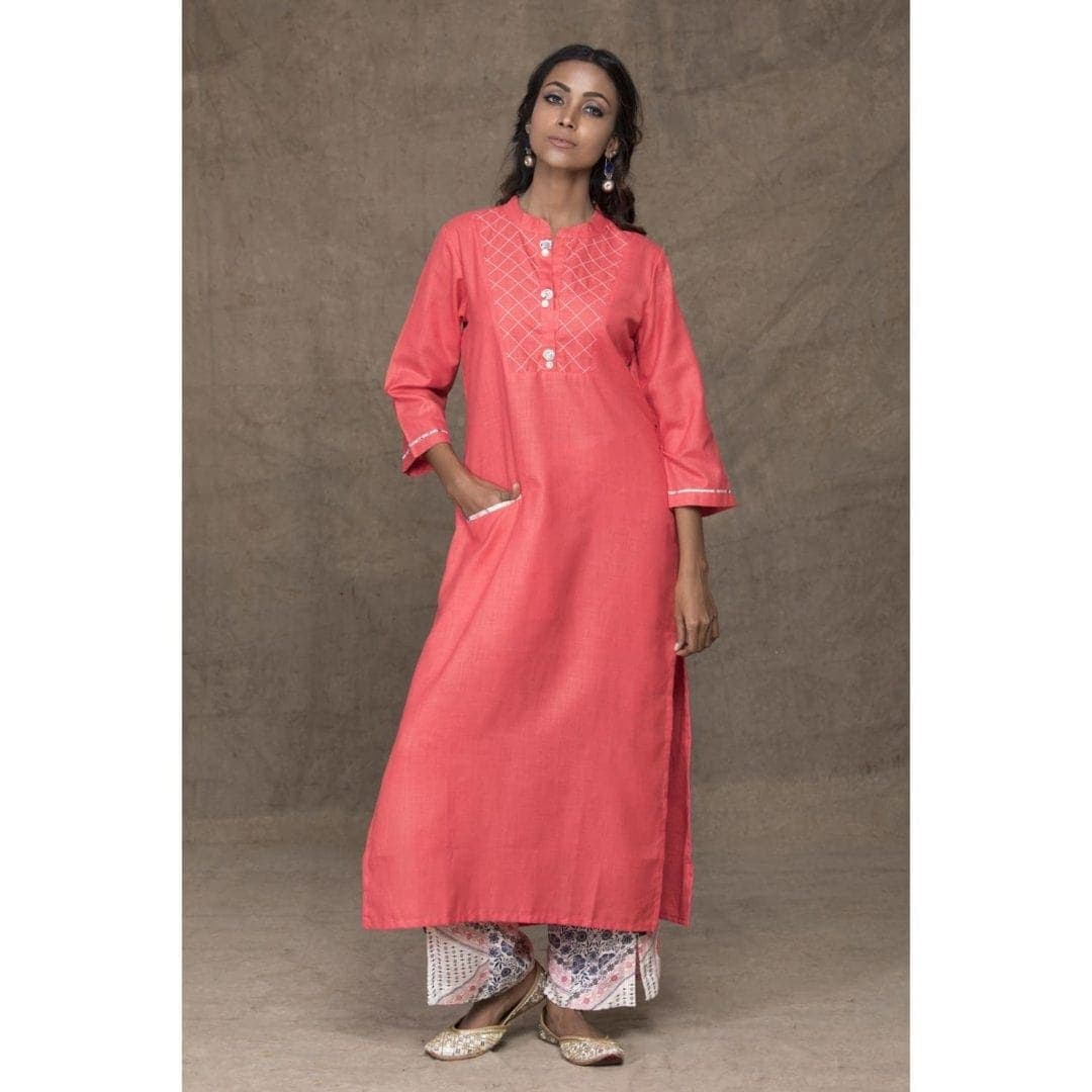 Peach kurta with printed pant