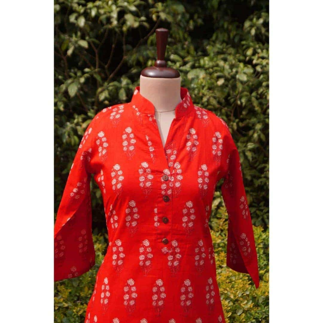 Carrot red block-print kurta