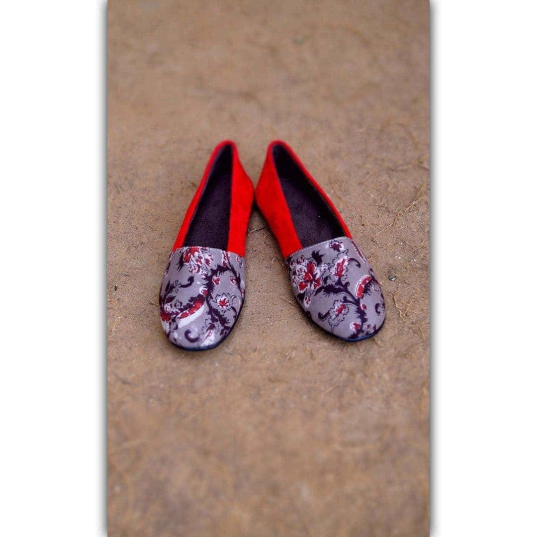 Red Velevt Ajrakh Printed Shoes