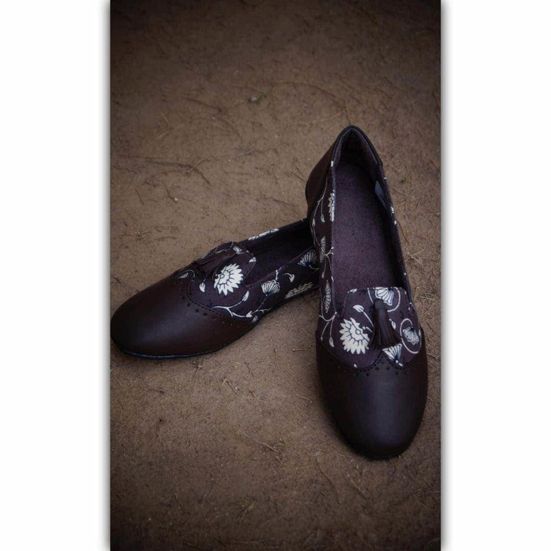 Brown Leather Printed Shoes