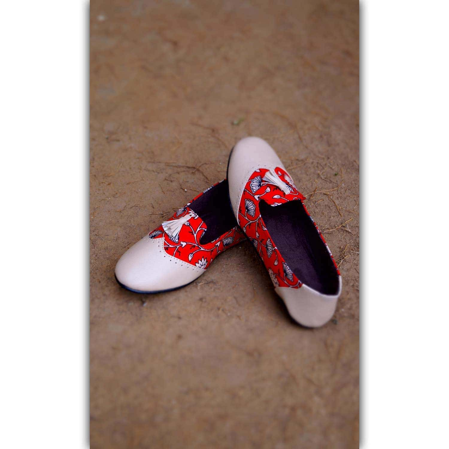 Red Printed Leather Shoes
