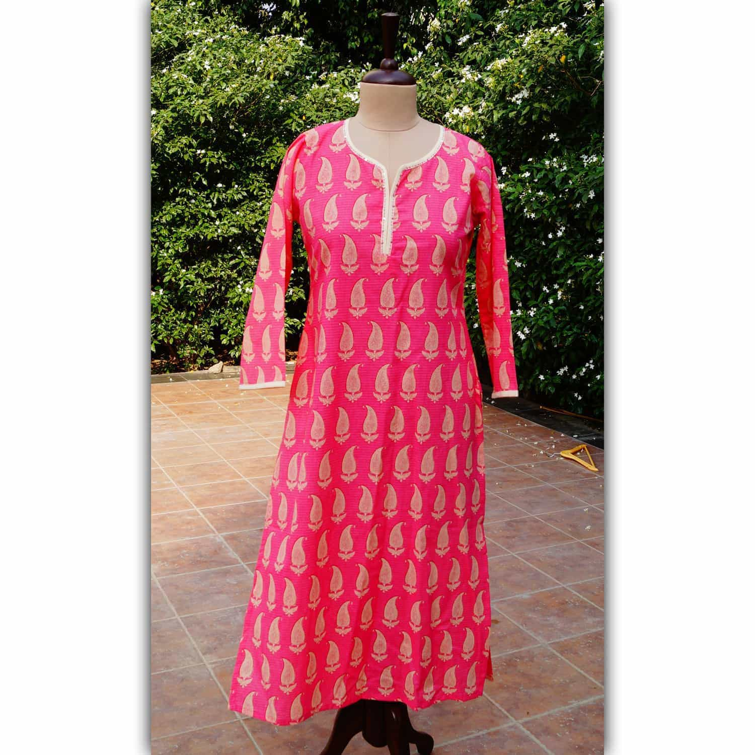 Pink and beinge kurta