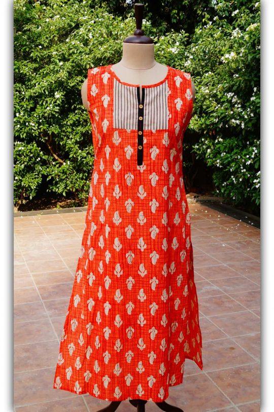 Orange and black sleevless kurta