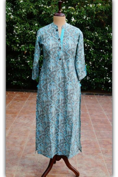 Ws272 Turquoise And Grey Kurta Front 1