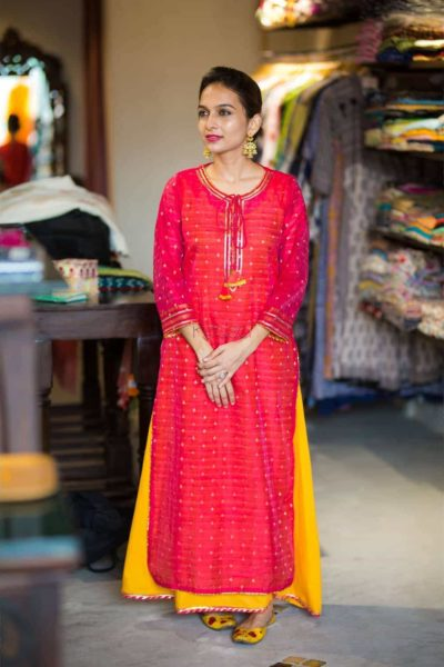 Wa A Magenta Banarasi Chanderi Kurta With Inner Featured