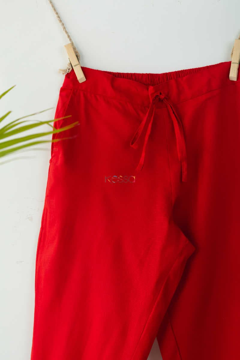 Wsp01 Pants With Pocket Elasticated Waist Red Closeup