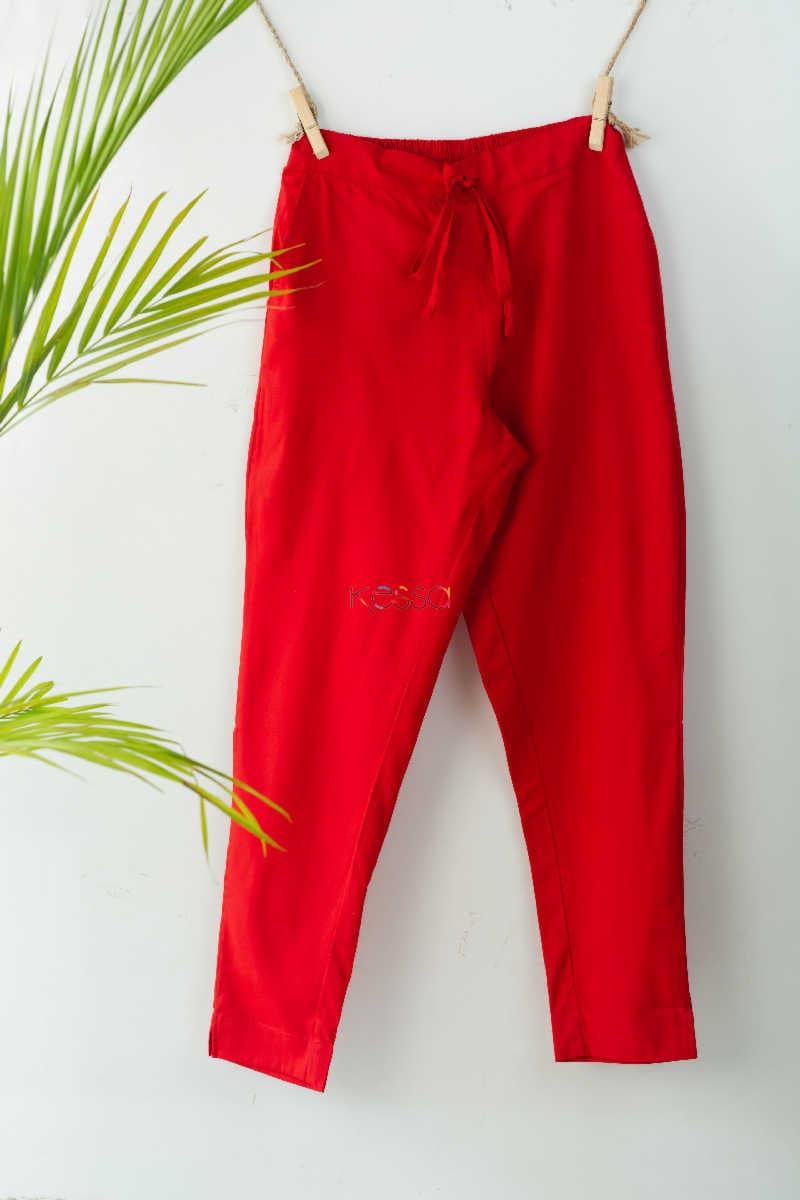 Wsp01 Pants With Pocket Elasticated Waist Red Featured