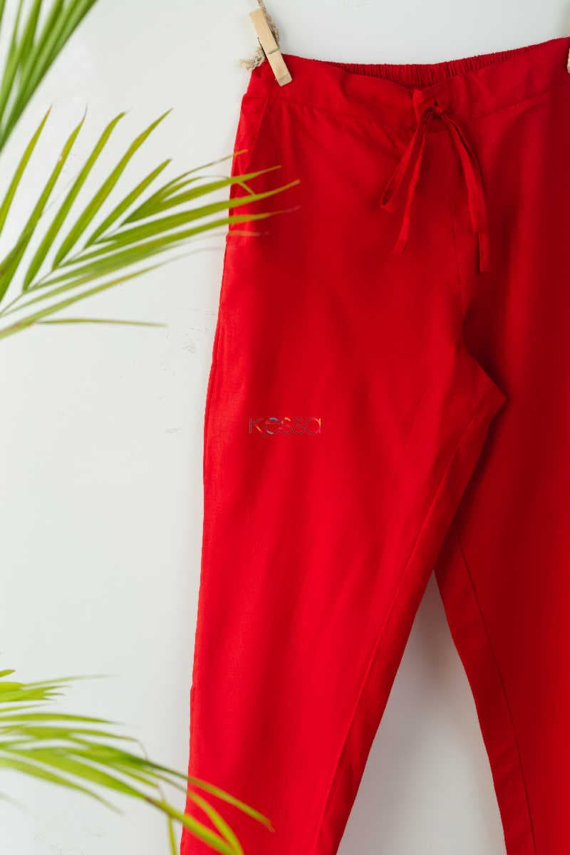 Wsp01 Pants With Pocket Elasticated Waist Red Look