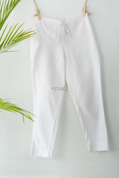 Wsp01 Pants With Pocket Elasticated Waist White Featured