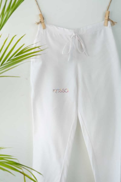 Wsp01 Pants With Pocket Elasticated Waist White Look
