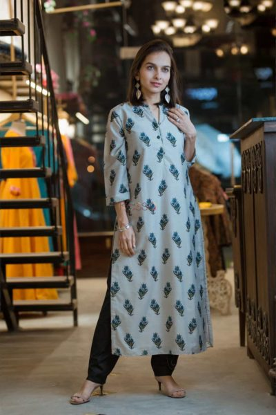 Kessa Kuoj Grey Block Printed Chanderi Silk Kurta Featured