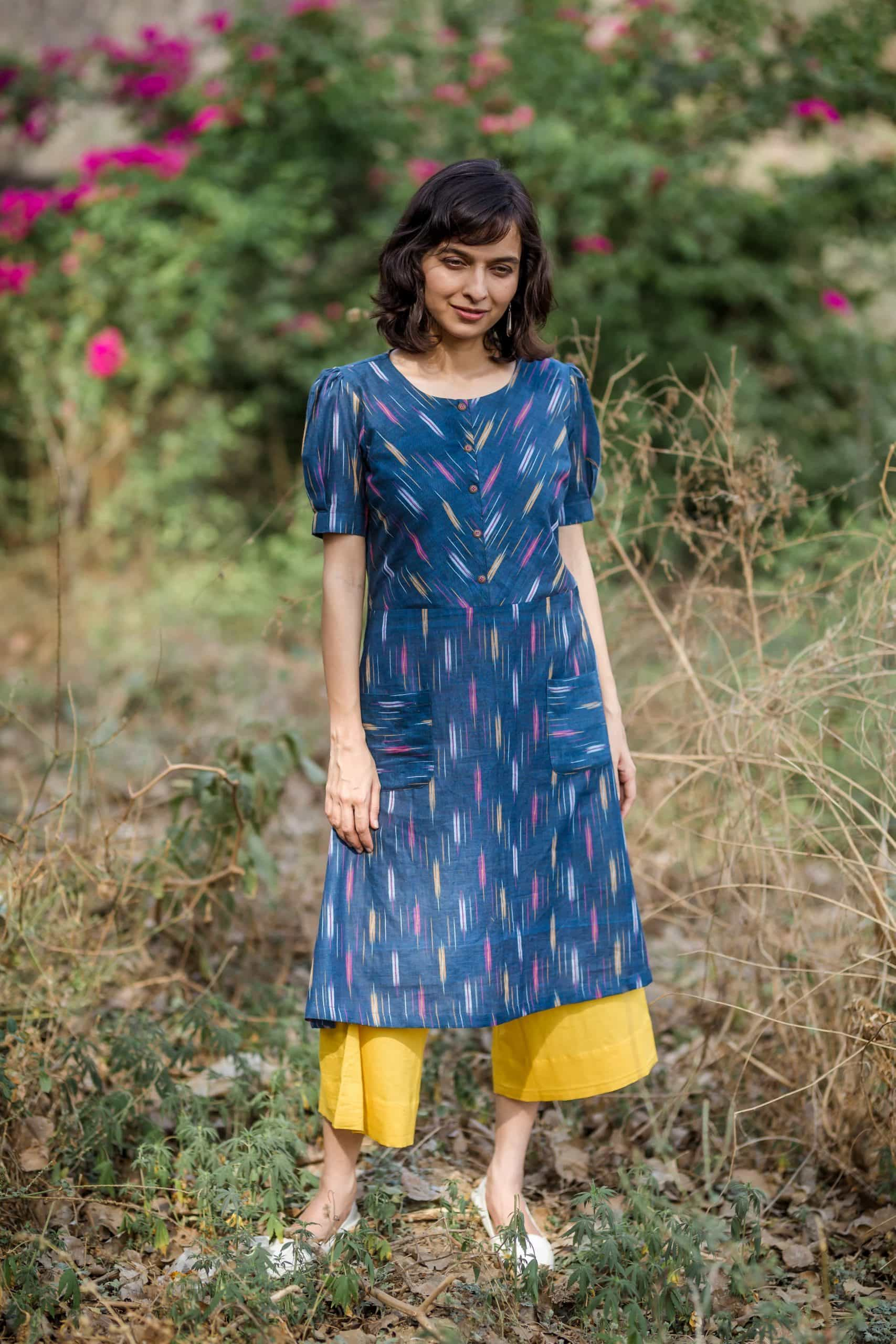 Navy Blue Mustard Ikat Kurta With Culottes Side Scaled