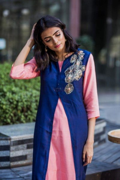 Blue And Peach Double Layer Kurta Featured