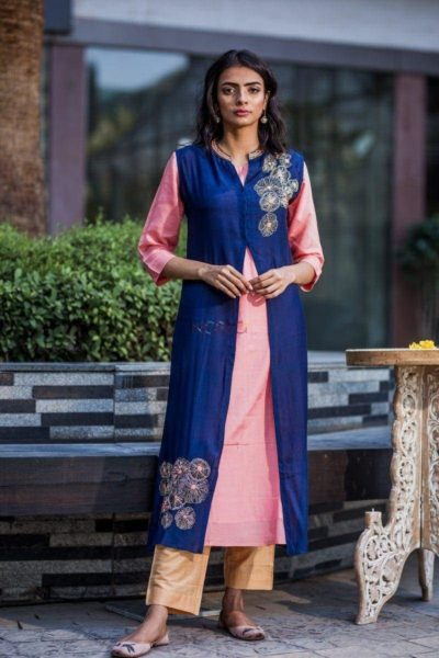 Blue And Peach Double Layer Kurta Side