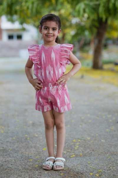 Pink Ikat Frilly Top With Turn Up Short 2