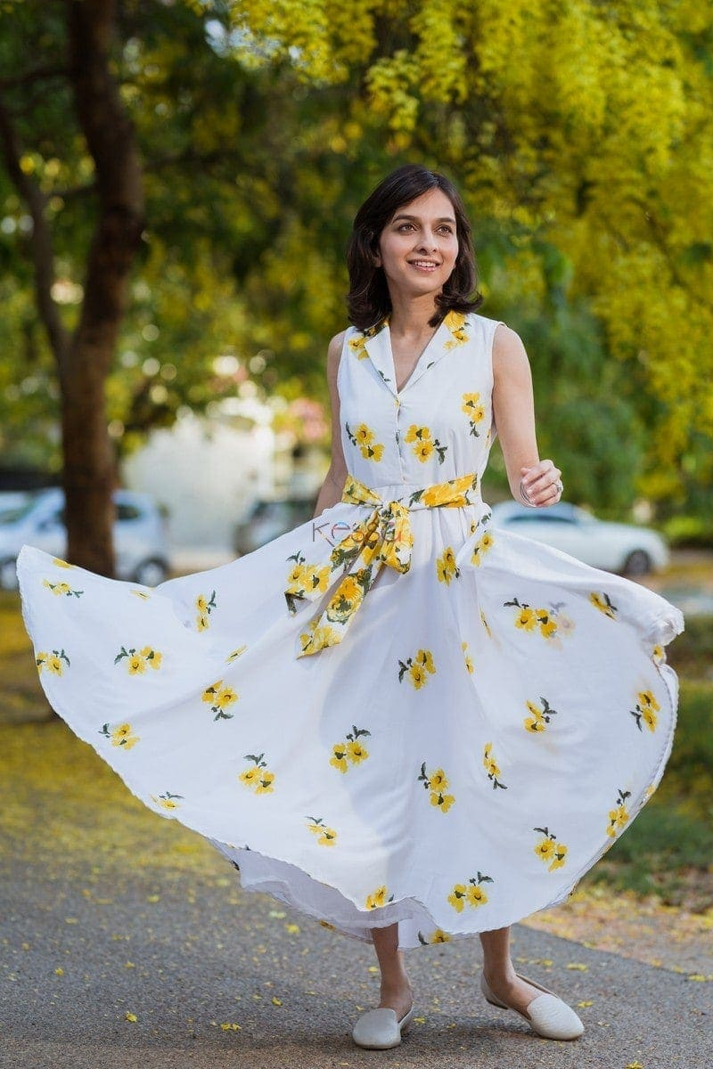 Yellow Floral Crepe Dress Featured