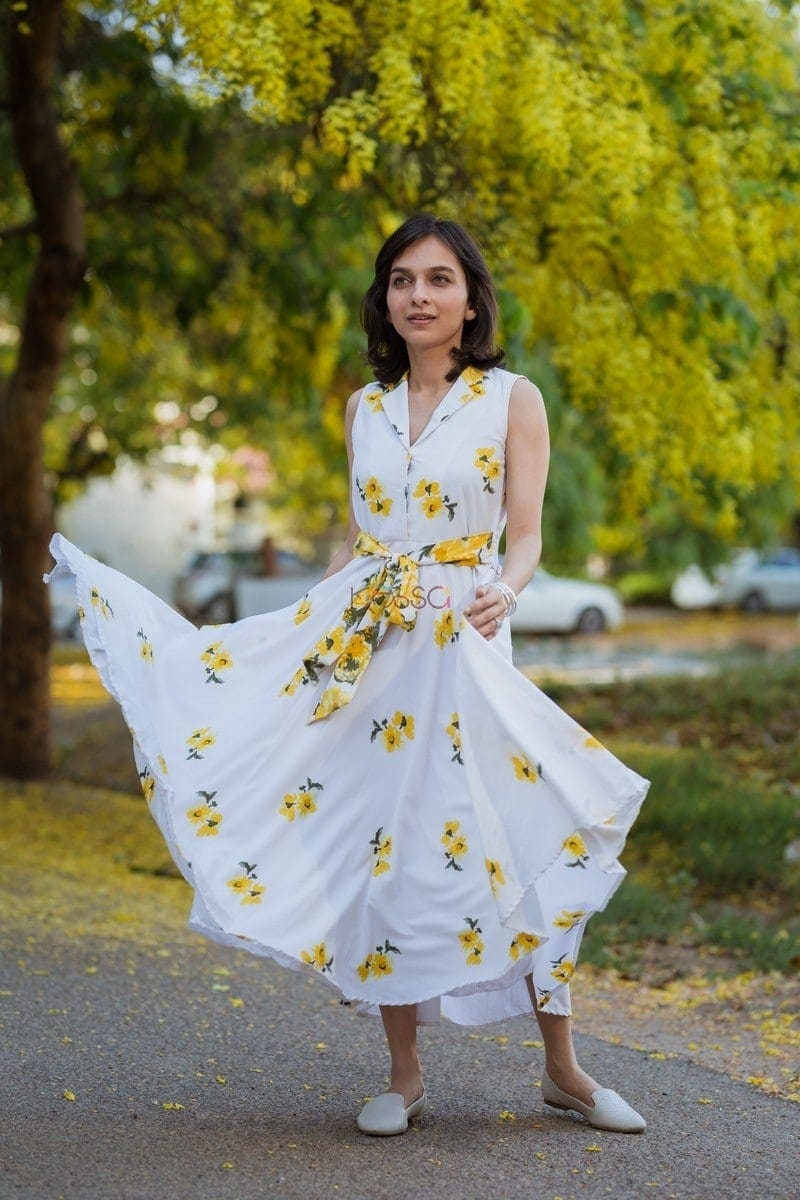 Yellow Floral Crepe Dress Front