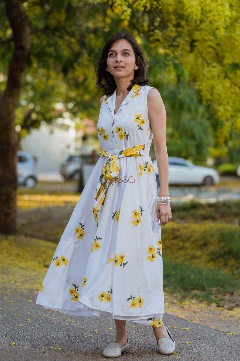Yellow Floral Crepe Dress Side