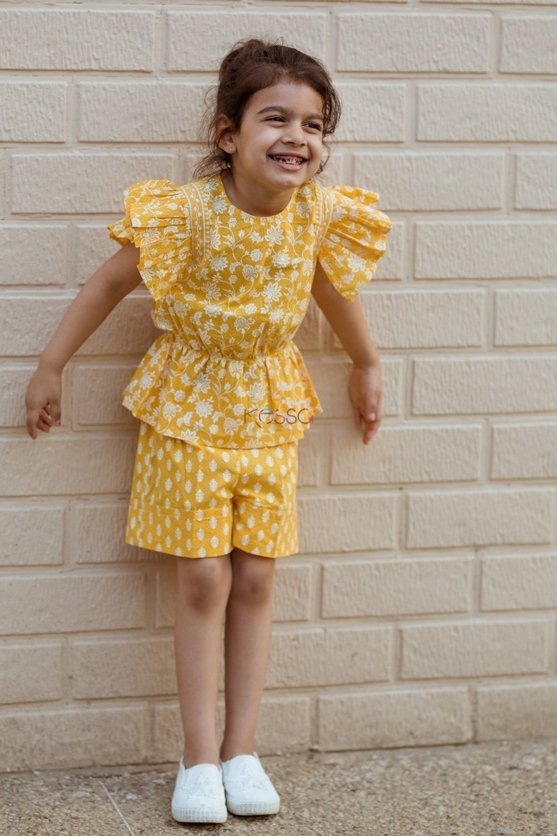 Yellow Pleated Top And Turn Up Short Closeup