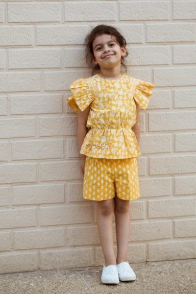 Yellow Pleated Top And Turn Up Short Featured