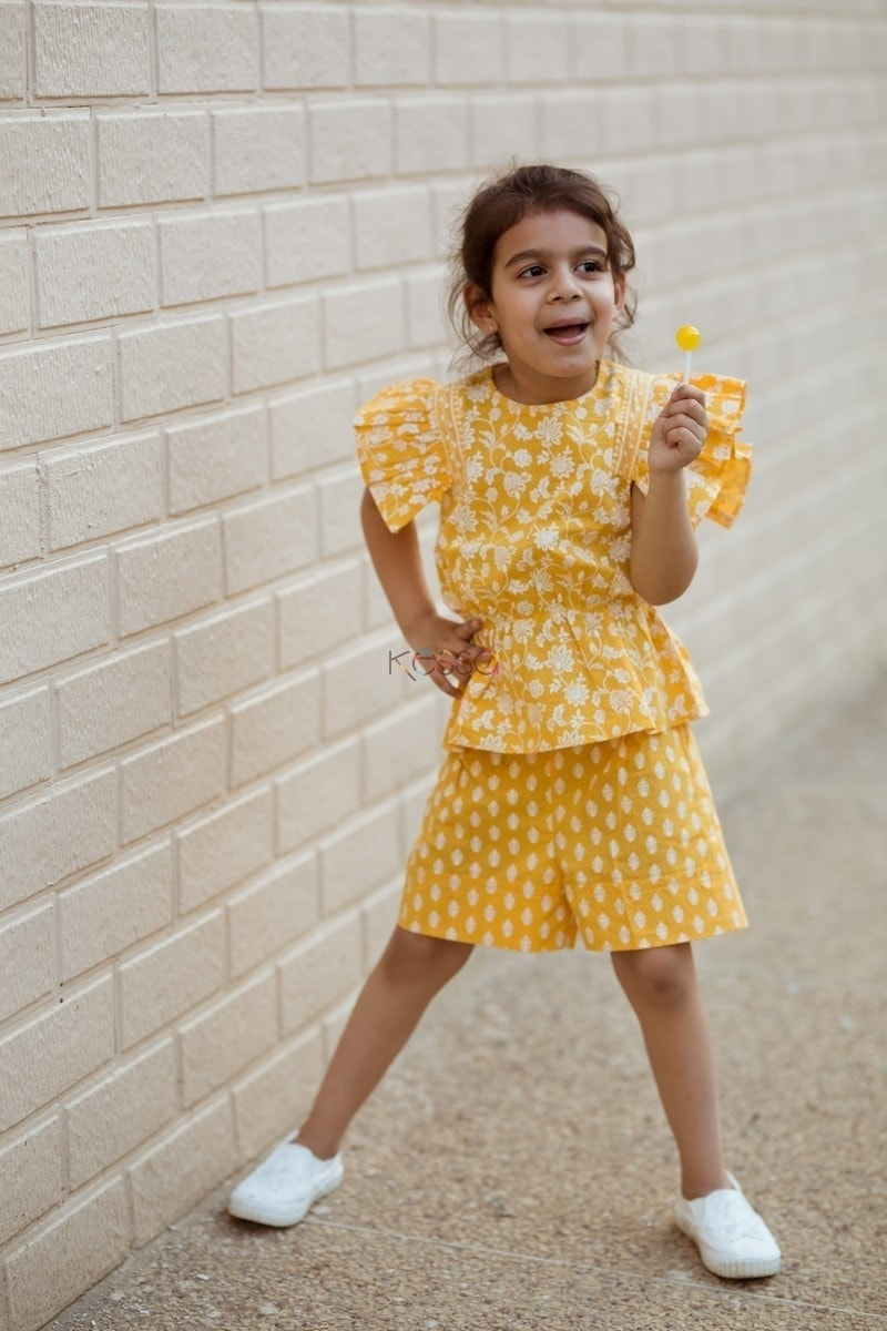 Yellow Pleated Top And Turn Up Short