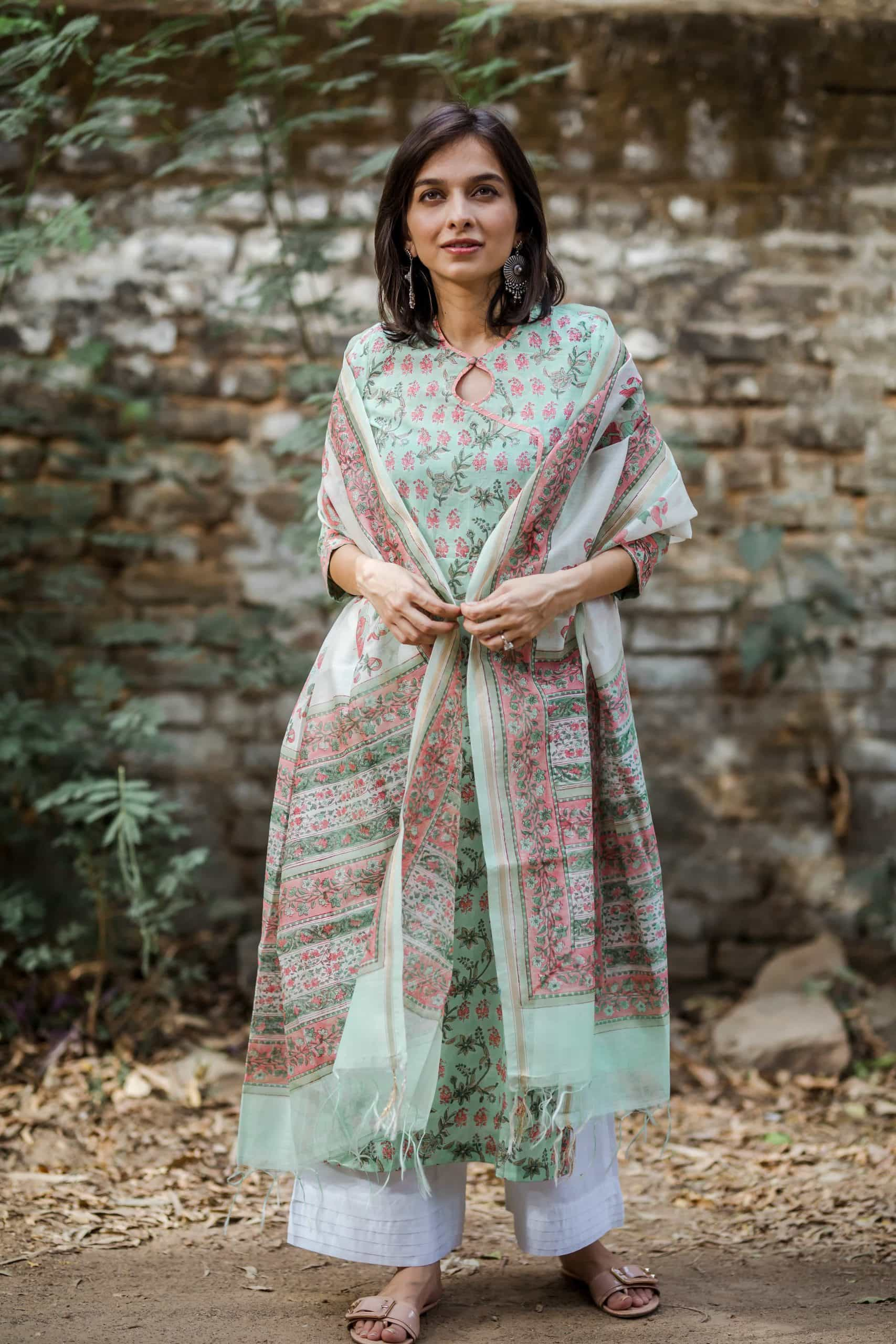 Mint Green And Peach Kurta With Dupatta Front Scaled