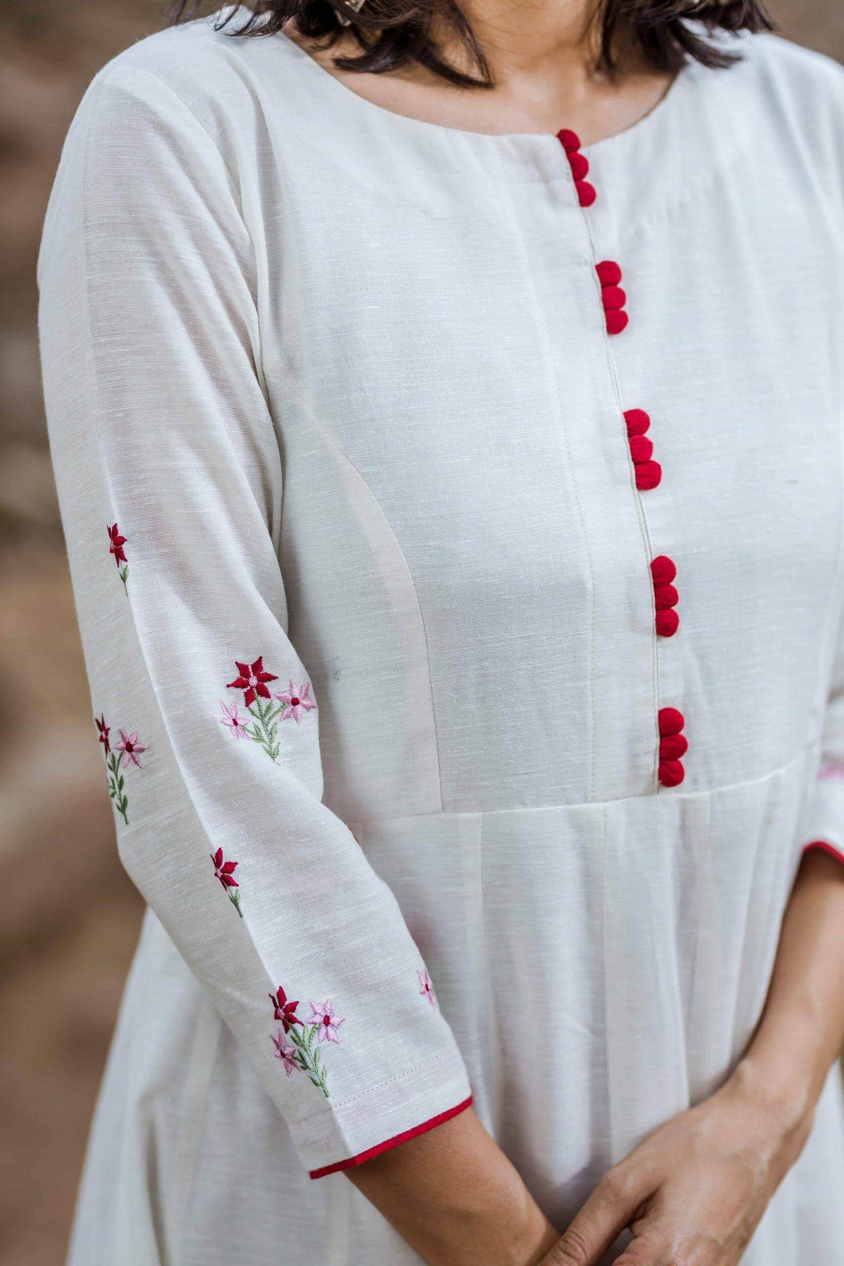 White Kalidaar Kurta With Embroidery On Sleeves Closeup Scaled