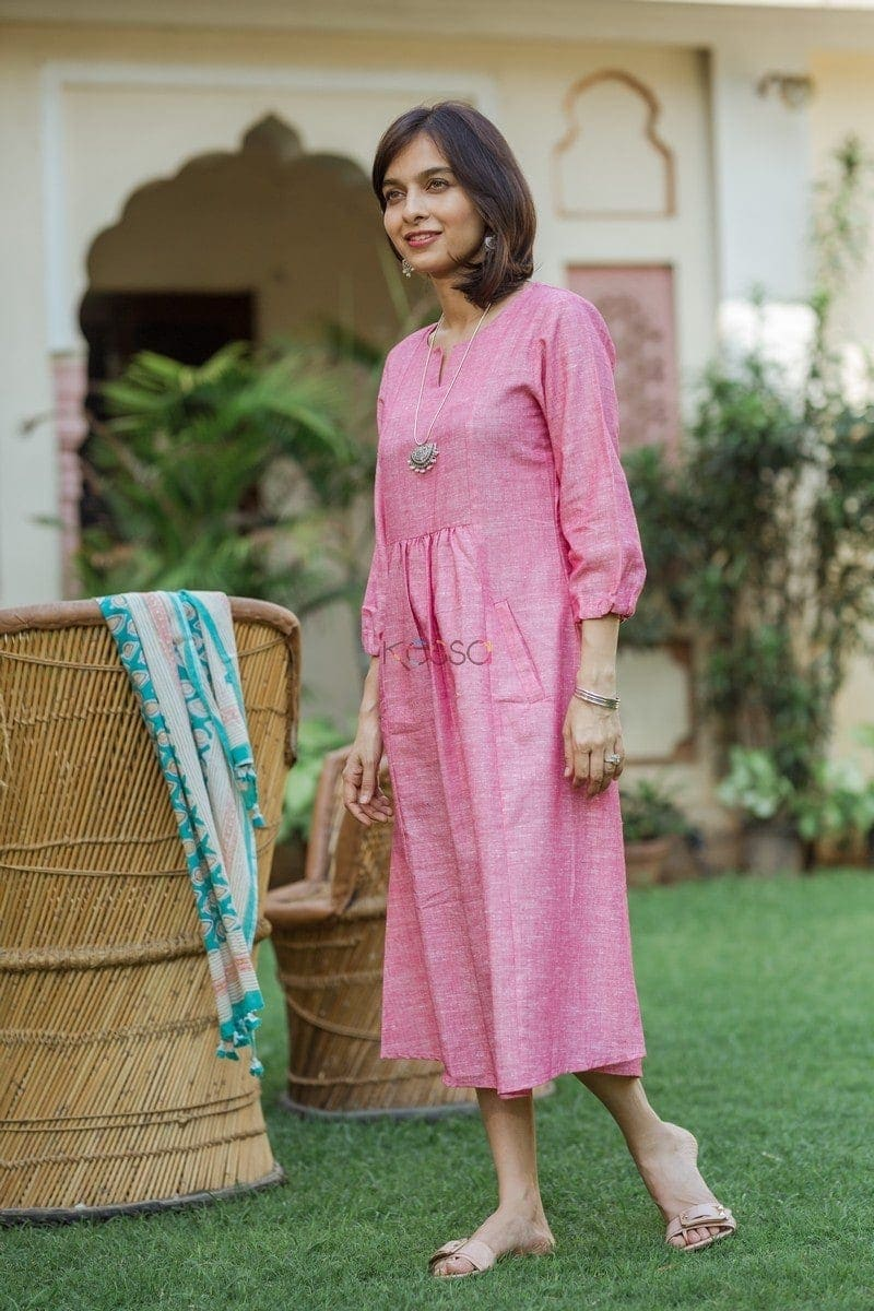 Baby Pink Linen Dress Front