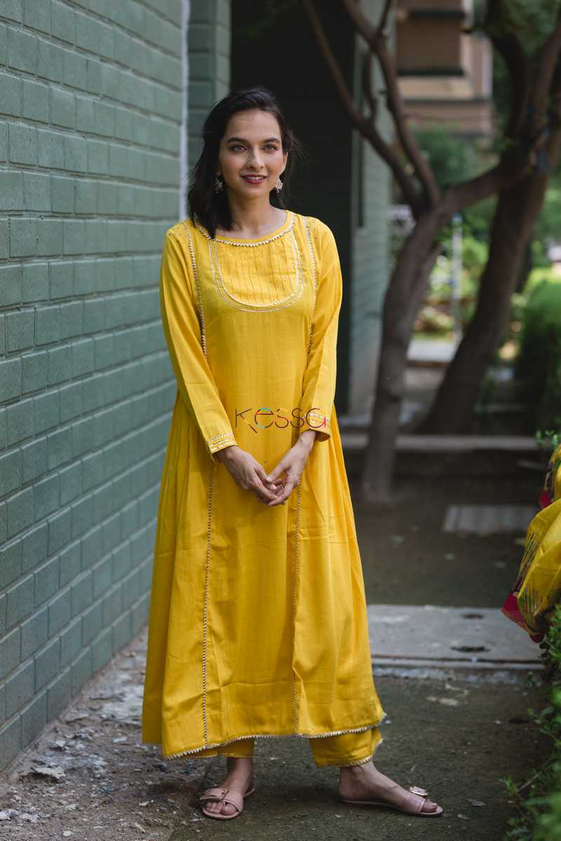 Yellow Side Gather Kurta With Pants Front