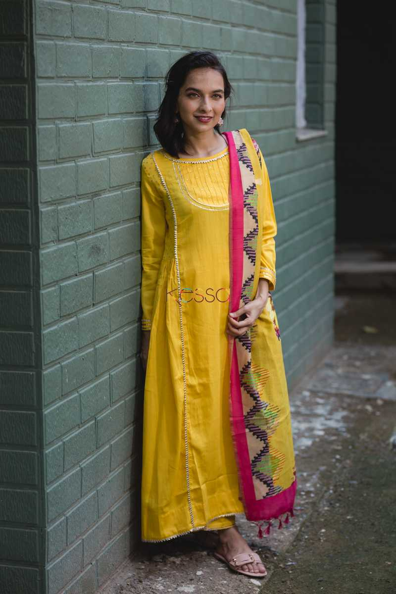 Yellow Side Gather Kurta With Pants With Dupatta Front