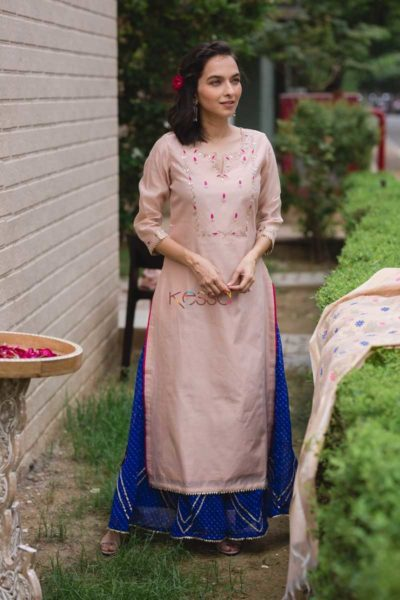 Ws453 Baby Pink Embroidered Chanderi Kurta Front New