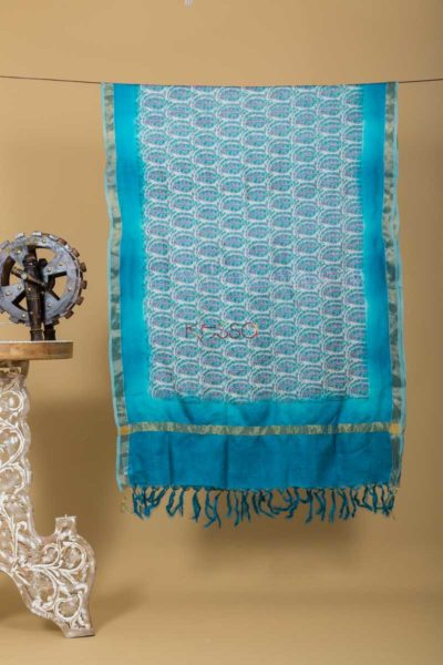 Kudu Blue Paisely Tussar Dupatta Featured