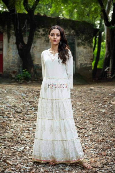 Sr A White Gold Frill Dress Featured