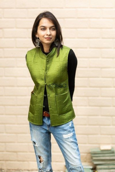 Trendy Green Double Side Half Jacket Front Featured