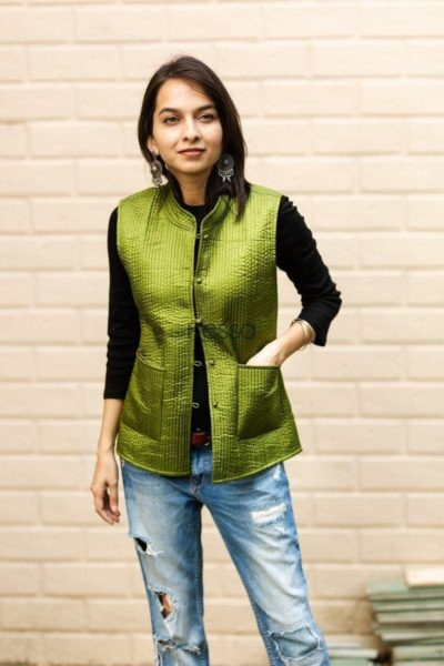 Trendy Green Double Side Half Jacket Front Pockets 1