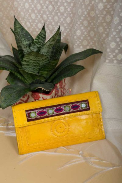 Kessa Kewa04 Yellow Camel Leather Handcrafted Wallet Featured