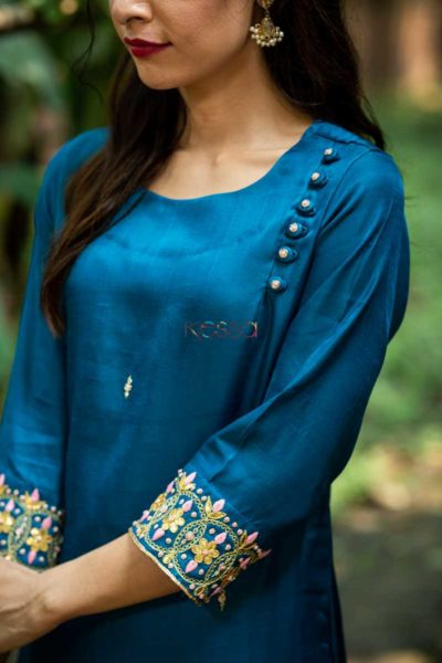 Kessa Ws468 Prussian Blue Remi Satin Embroidered Kurta Closeup 2
