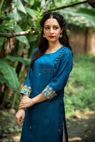 Kessa Ws468 Prussian Blue Remi Satin Embroidered Kurta Closeup