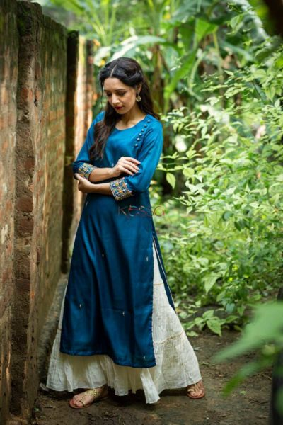 Kessa Ws468 Prussian Blue Remi Satin Embroidered Kurta Side
