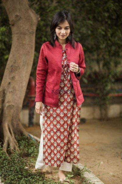 Carnation Red Double Side Full Sleeves Jacket