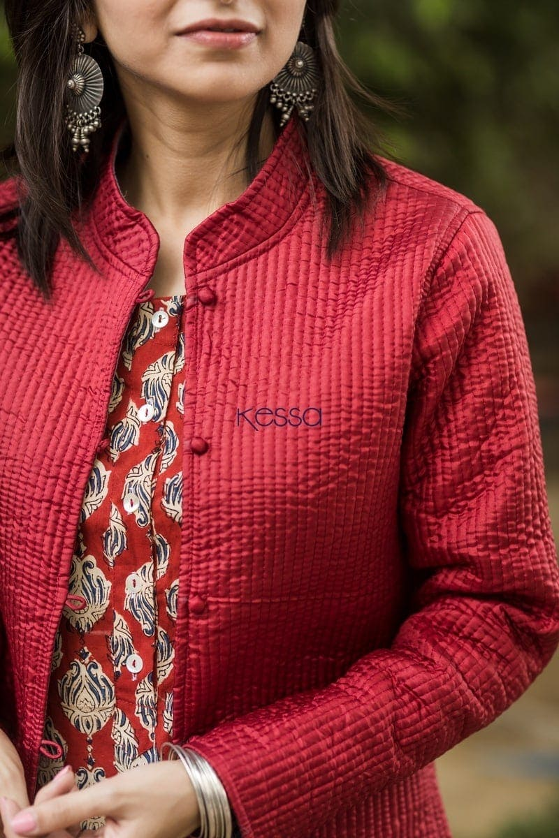 Carnation Red Double Side Full Sleeves Jacket Closeup
