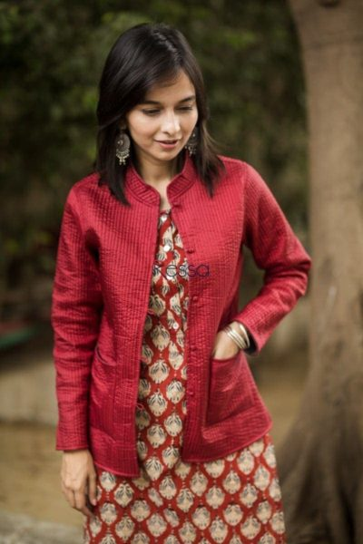 Carnation Red Double Side Full Sleeves Jacket Pockets