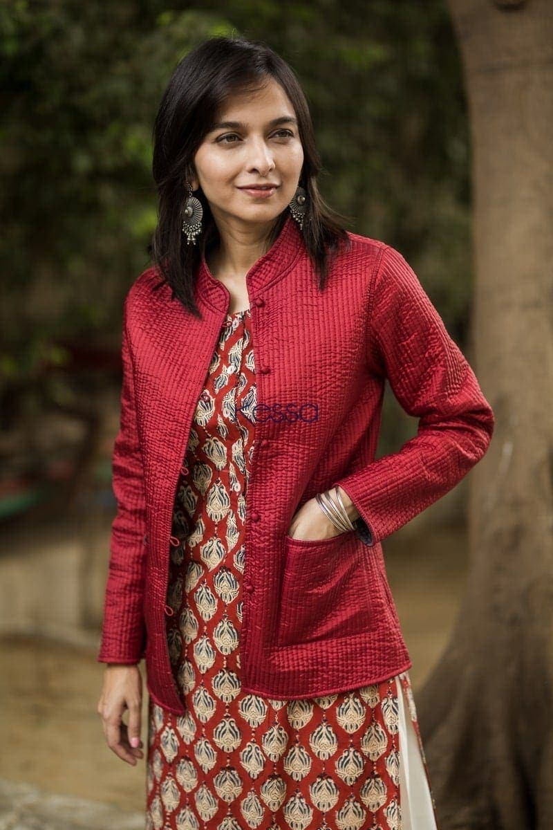 Carnation Red Double Side Full Sleeves Jacket Closeup 2