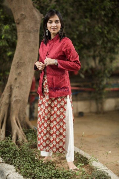 Carnation Red Double Side Full Sleeves Jacket Side