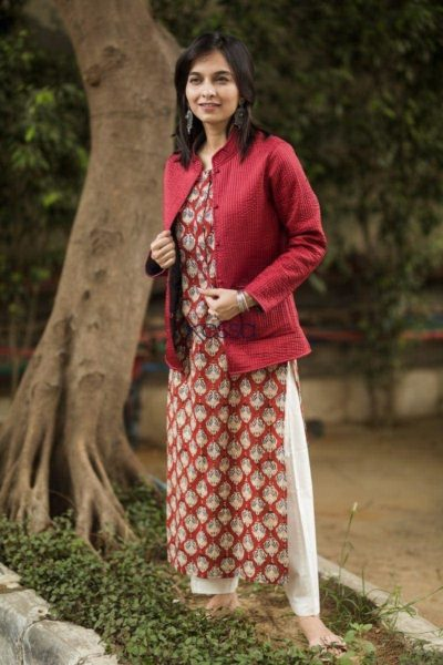 Carnation Red Double Side Full Sleeves Jacket Side2