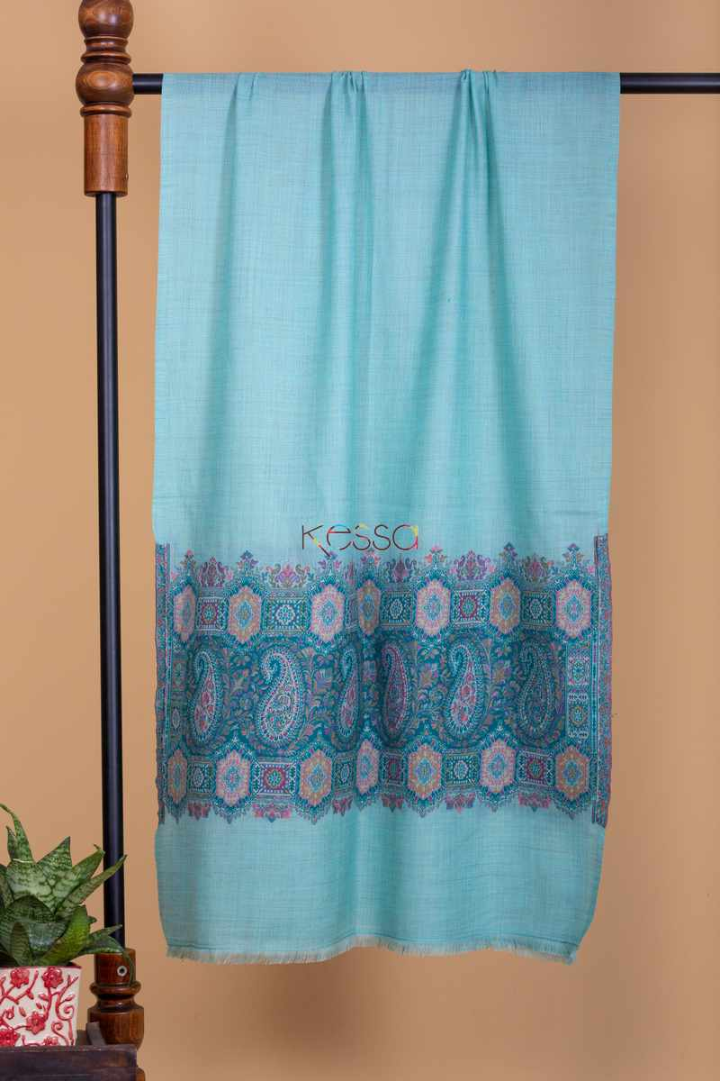 Kessa Kusl13 Blue With Blue Embroidery Stole Featured