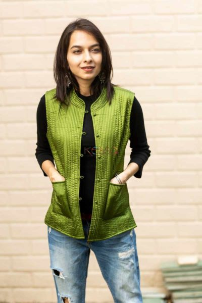 Kessa Sj17 Trendy Green And Blue Half Jacket Featured 2